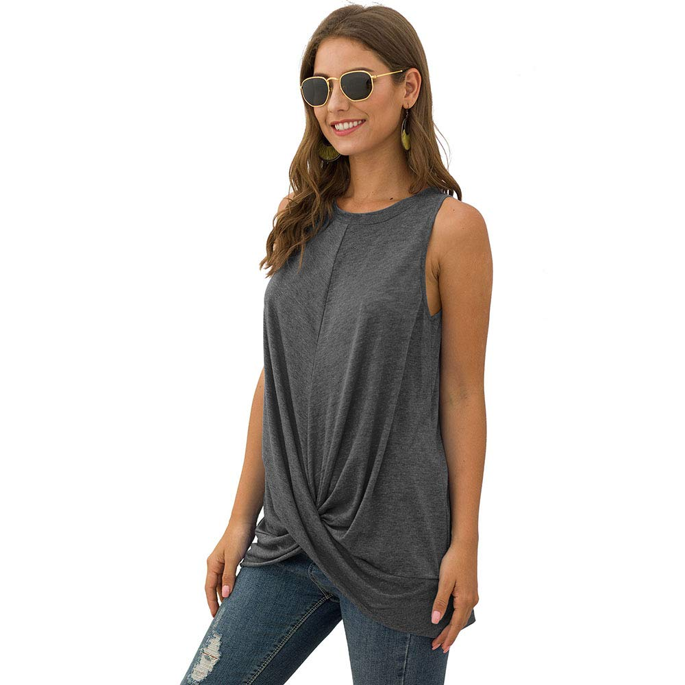 Simplee Women's Sleeveless Twist Knot Loose Tank Top Casual Solid Tunic Tank Blouse (4/6 Dark Grey) - wiihuu