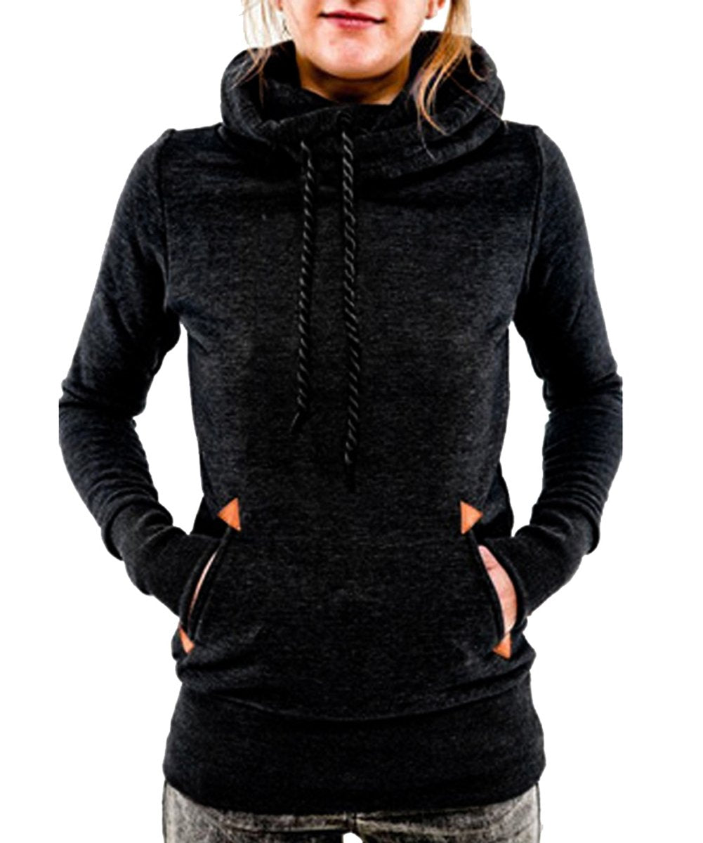 Begonia.K Women's Funnel Neck Hoodie Lightweight Pullover Hooded Sweatshirts Black - wiihuu