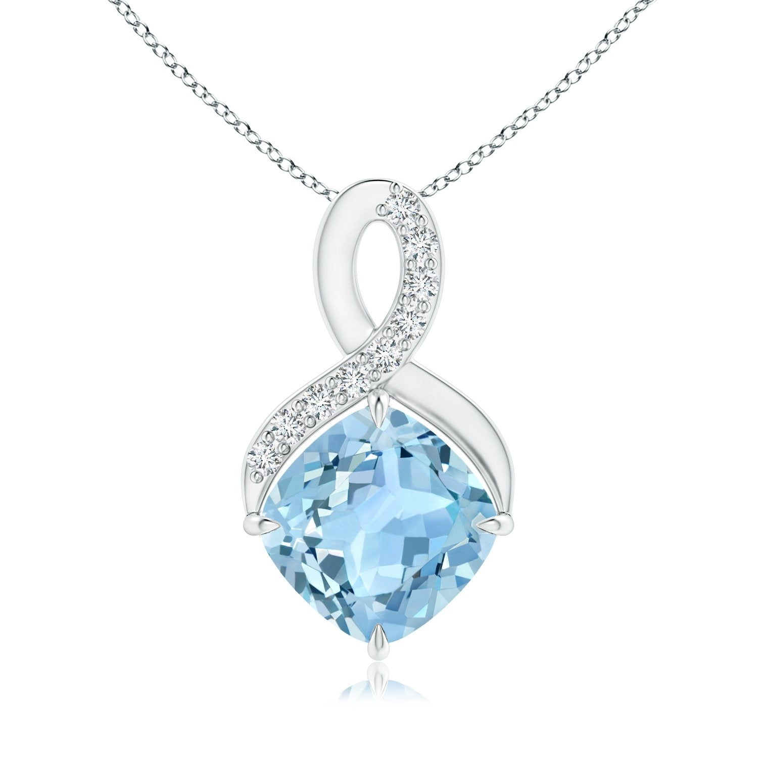 ANGARA Holiday Offer - Solitaire Claw Cushion Aquamarine Infinity Symbol Pendant for Women with Diamonds in 14K White Gold (6mm Aquamarine) - wiihuu