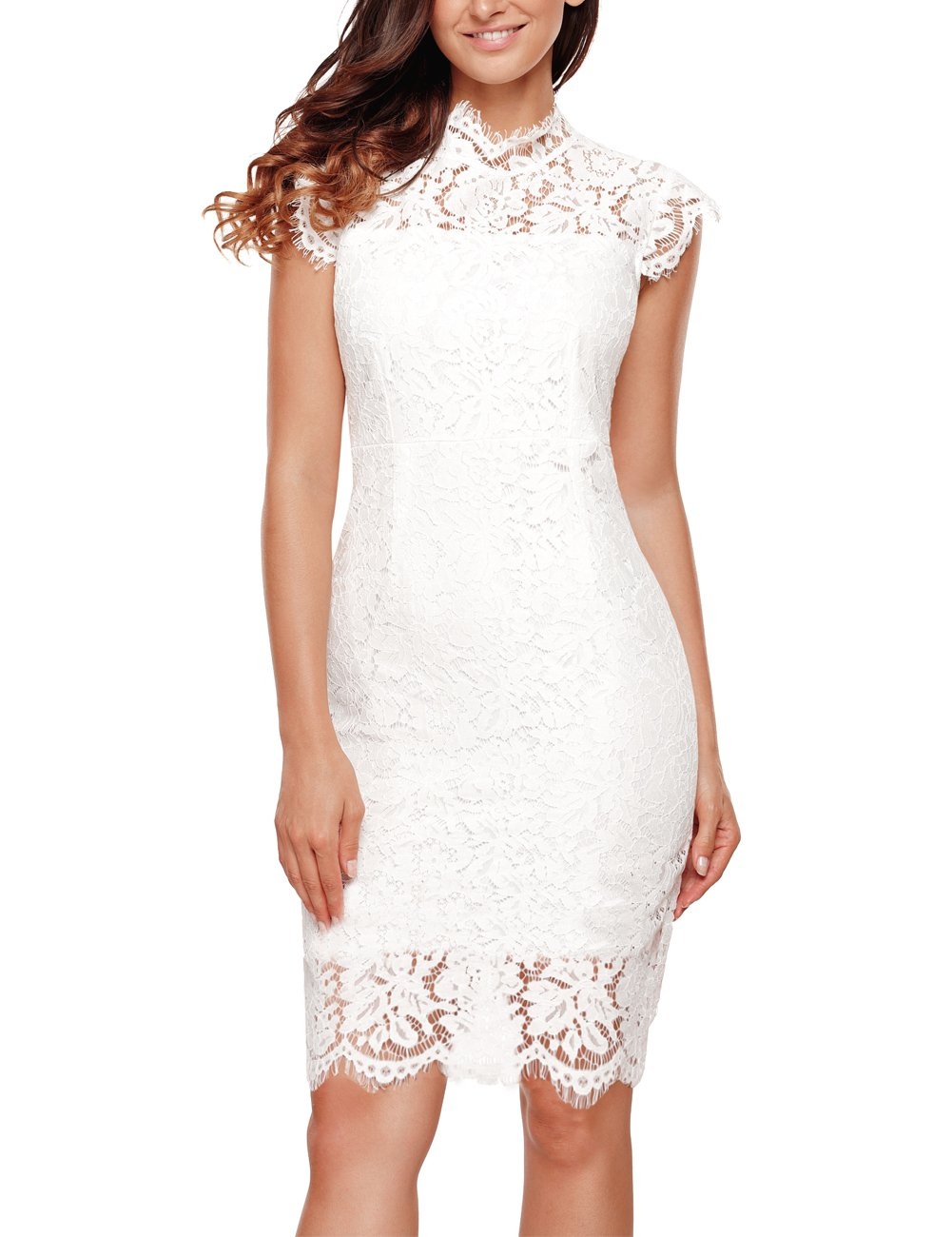 Women's Sleeveless Lace Floral Elegant Cocktail Dress Crew Neck Knee Length for Party, White, Large - wiihuu