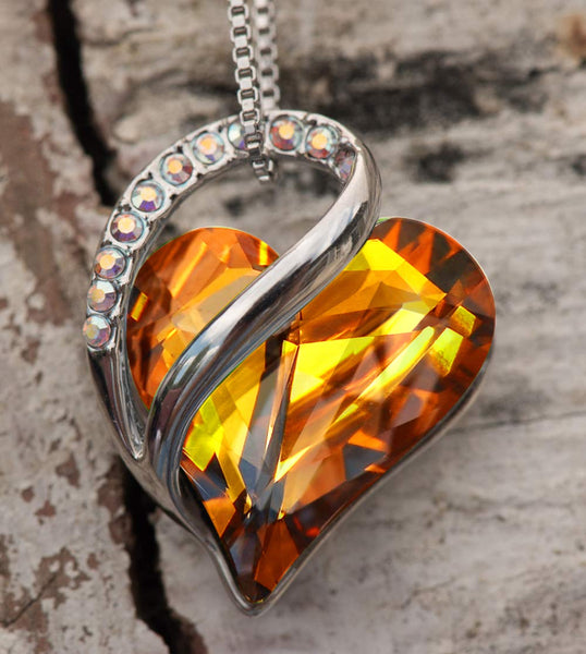 "Leafael""Infinity Love"" Heart Pendant Necklace Made with Swarovski Crystals Amber Brown November Birthstone Jewelry Gifts for Women, Silver-tone, 18""+2"", Presented by Miss New York - wiihuu"