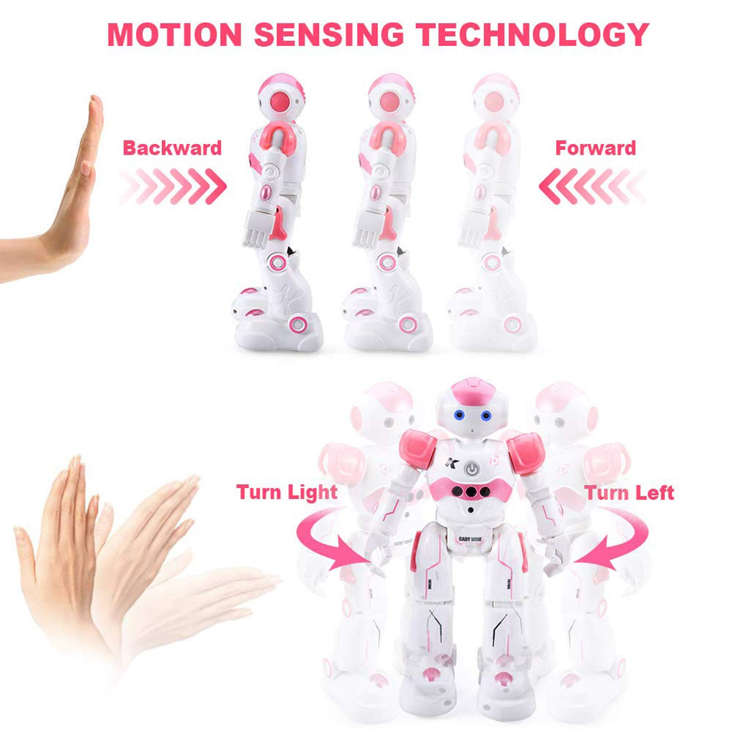 Eholder Smart Remote Control Robot Toy for kids, Rechargeable Interactive Gesture Sensing Smart RC Robot for Boys Girls,Dancing Robot Walking Music Robot Educational Toy Programmable Robotic Gift Pink - wiihuu