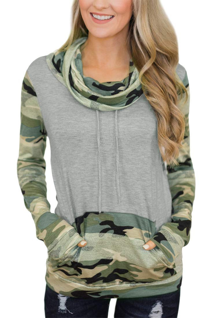 Womens Casual Striped Cotton Sweatshirt Long Sleeve Cowl Neck Color Blocked Tops with Pocket Dark Grey Camo S - wiihuu