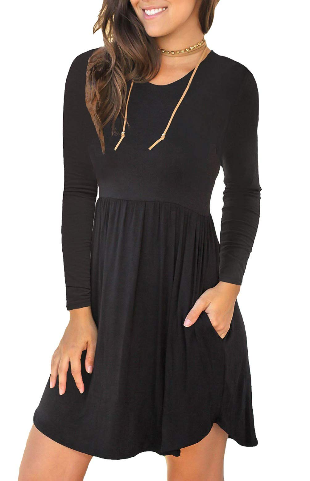 Unbranded* Women's Long Sleeve Loose Plain Dresses Casual Short Dress with Pockets Black Large - wiihuu