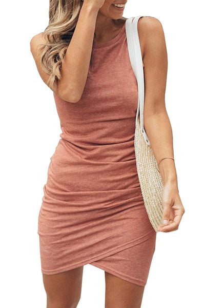 BTFBM Women's 2019 Casual Crew Neck Ruched Stretchy Bodycon T Shirt Short Mini Dress (106Pink, Small) - wiihuu