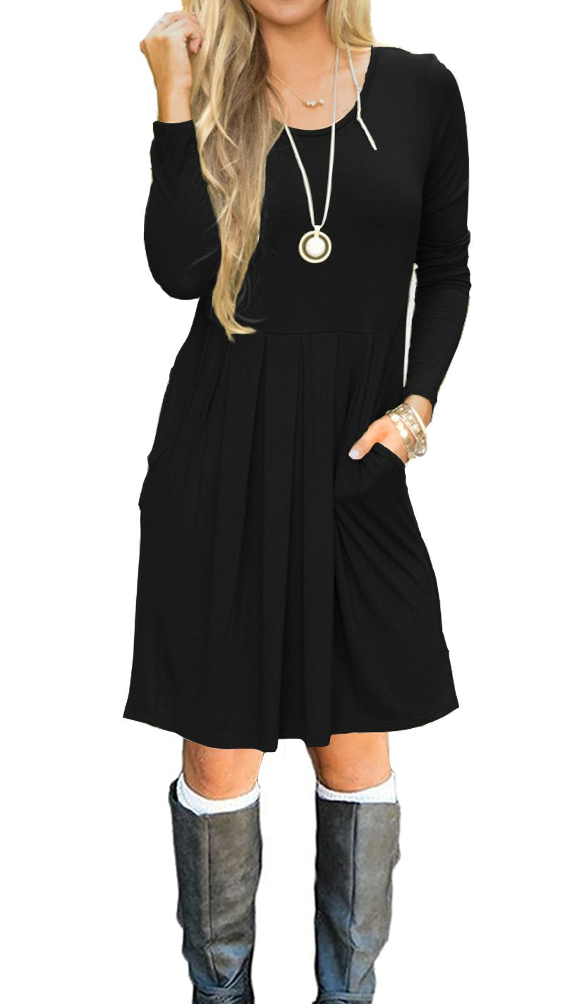 AUSELILY Women's Long Sleeve Pleated Loose Swing Casual Dress with Pockets Knee Length (M, Black) - wiihuu