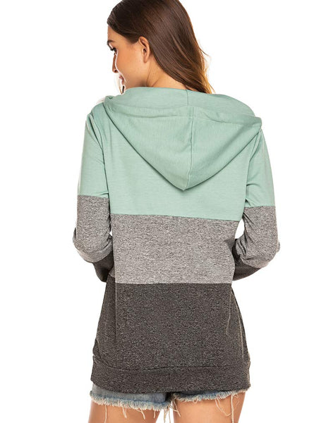 Naggoo Womens Long Sleeve Colorblock Pullover Fleece Hoodie Sweatshirt Tops(S,Green) - wiihuu
