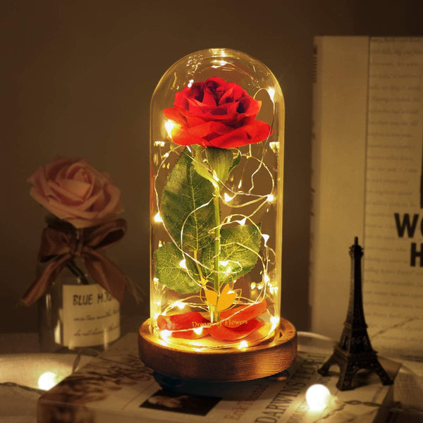 Enchanted Rose, Beauty and The Beast Red Rose with Fallen Petals in A Light Dome USB Powered, Home Decoration Valentine's Day Gift, Romantic Rose Gift for Women Girl - wiihuu
