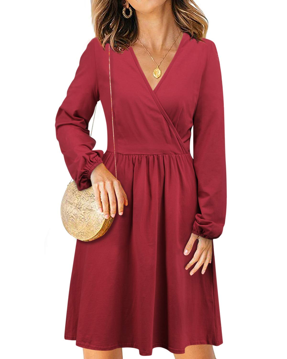 STYLEWORD Women's V Neck Long Puff Sleeve Casual Dress with Pocket(Wine-488,L) - wiihuu
