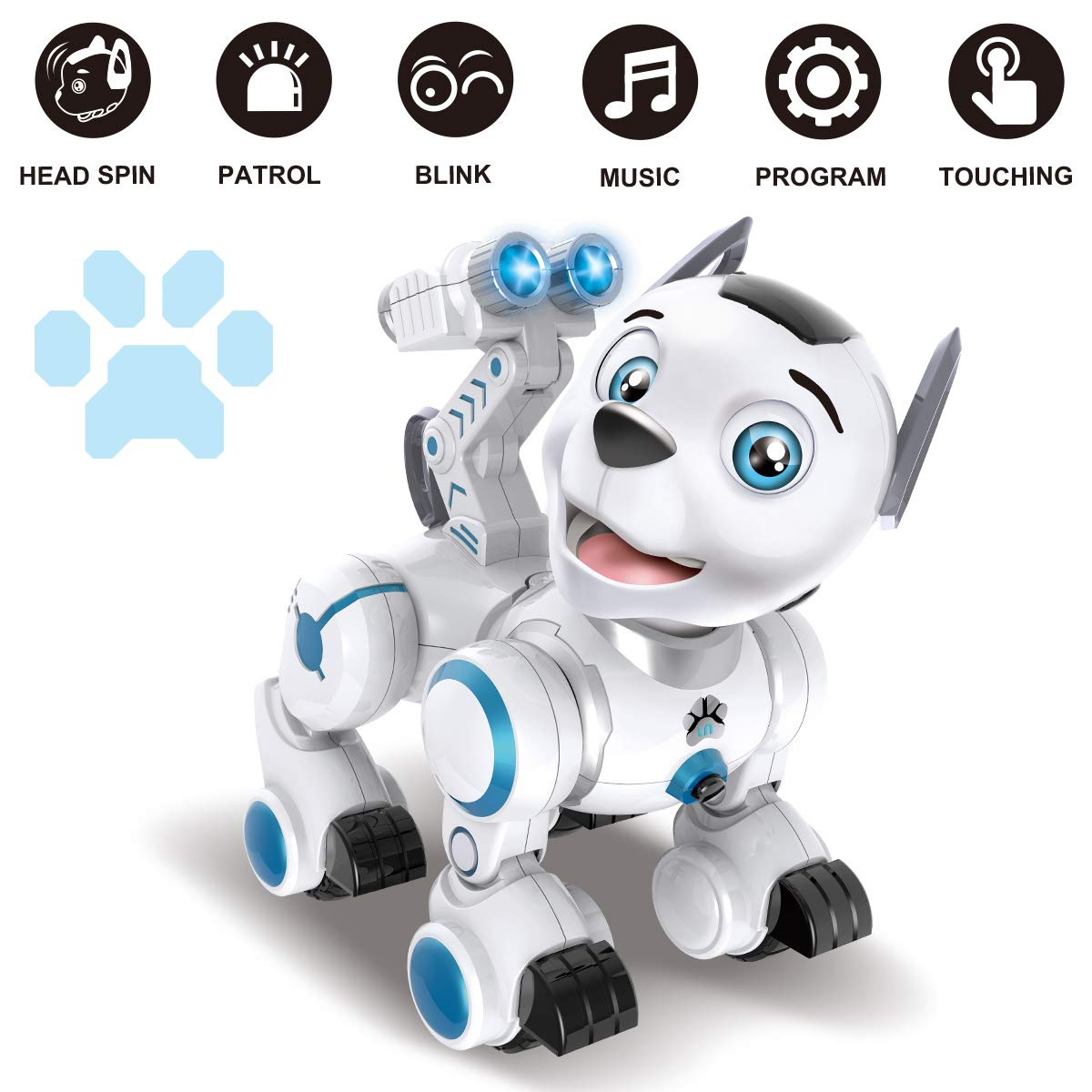 fisca Remote Control Robotic Dog RC Interactive Intelligent Walking Dancing Programmable Robot Puppy Toys Electronic Pets with Light and Sound for Kids Boys Girls Age 6, 7, 8, 9, 10 and Up Year Old - wiihuu