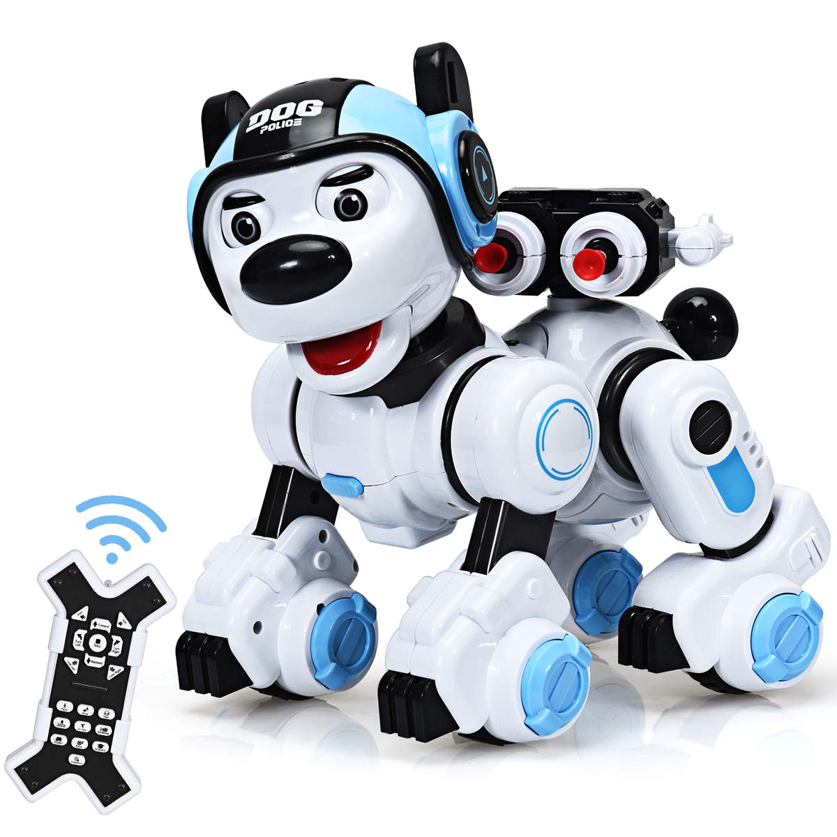 Costzon Remote Control Robotic Dog, Wireless Programmable Interactive Robot Puppy for Kids, Educational Electronic Pet Toys w/Singing, Dancing, Blinking, Shooting Function, Gift for Children (Blue) - wiihuu