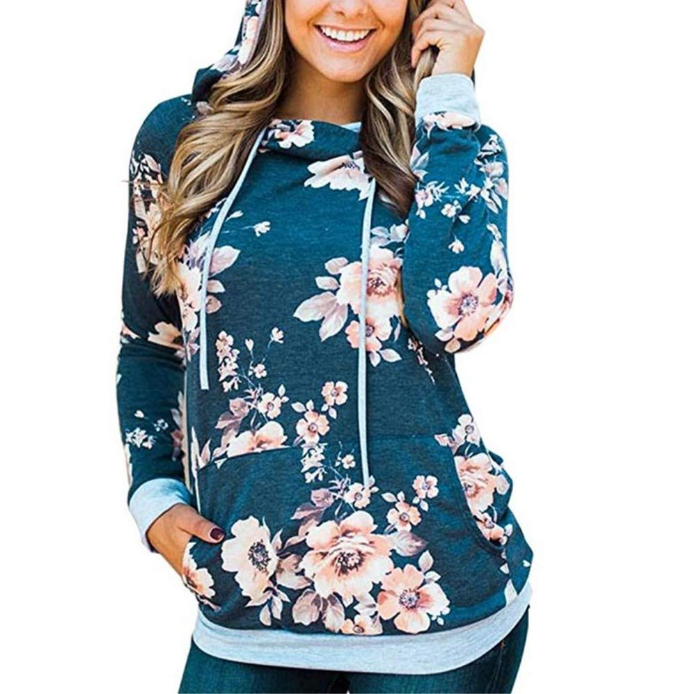 Women Hoodies-Tops- Floral Printed Long Sleeve Pocket Drawstring Sweatshirt with Pocket (Blue, US 4/Tag S) - wiihuu