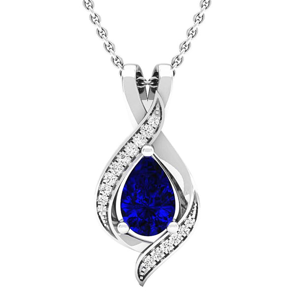Dazzlingrock Collection Pear 9X6 MM Lab Created Blue Sapphire & Round Diamond Ladies Pendant, 10K White Gold - wiihuu