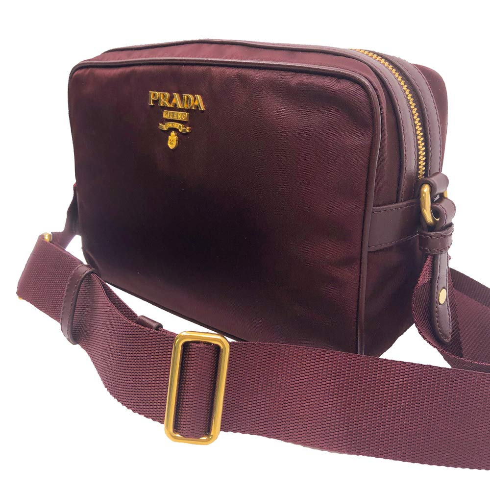 Prada Womens Burgundy Bandoliera Tessuto Nylon Leather Crossbody Bag 1BH089 - wiihuu