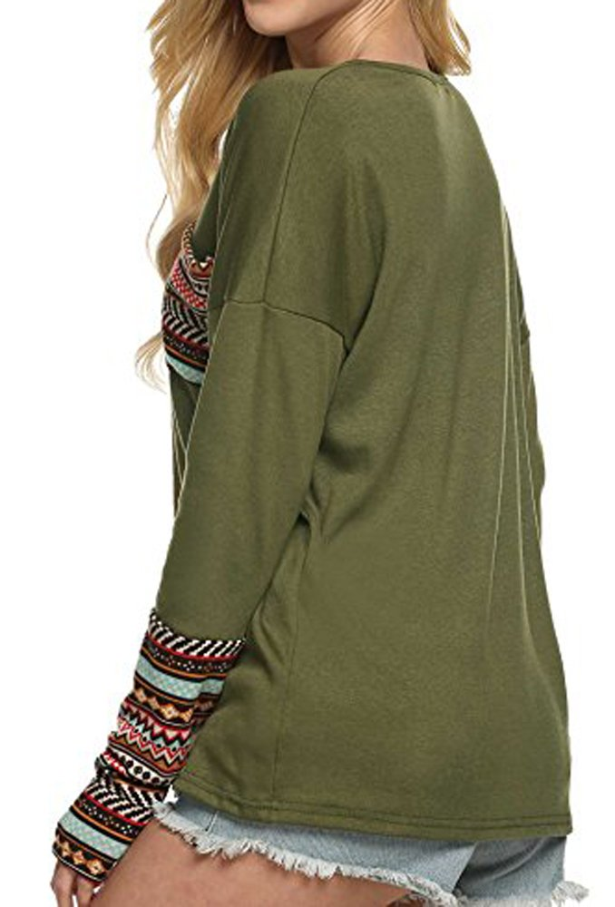 POGTMM Women Long Sleeve O-Neck Patchwork Basic Tops (L, Army Green) - wiihuu