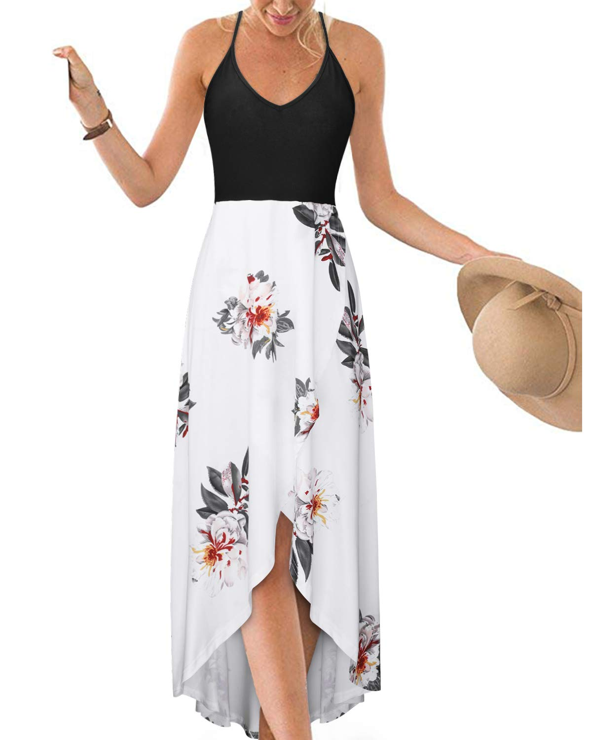 KILIG Women's V Neck Sleeveless Summer Asymmetrical Patchwork Floral Maxi Dresses - wiihuu
