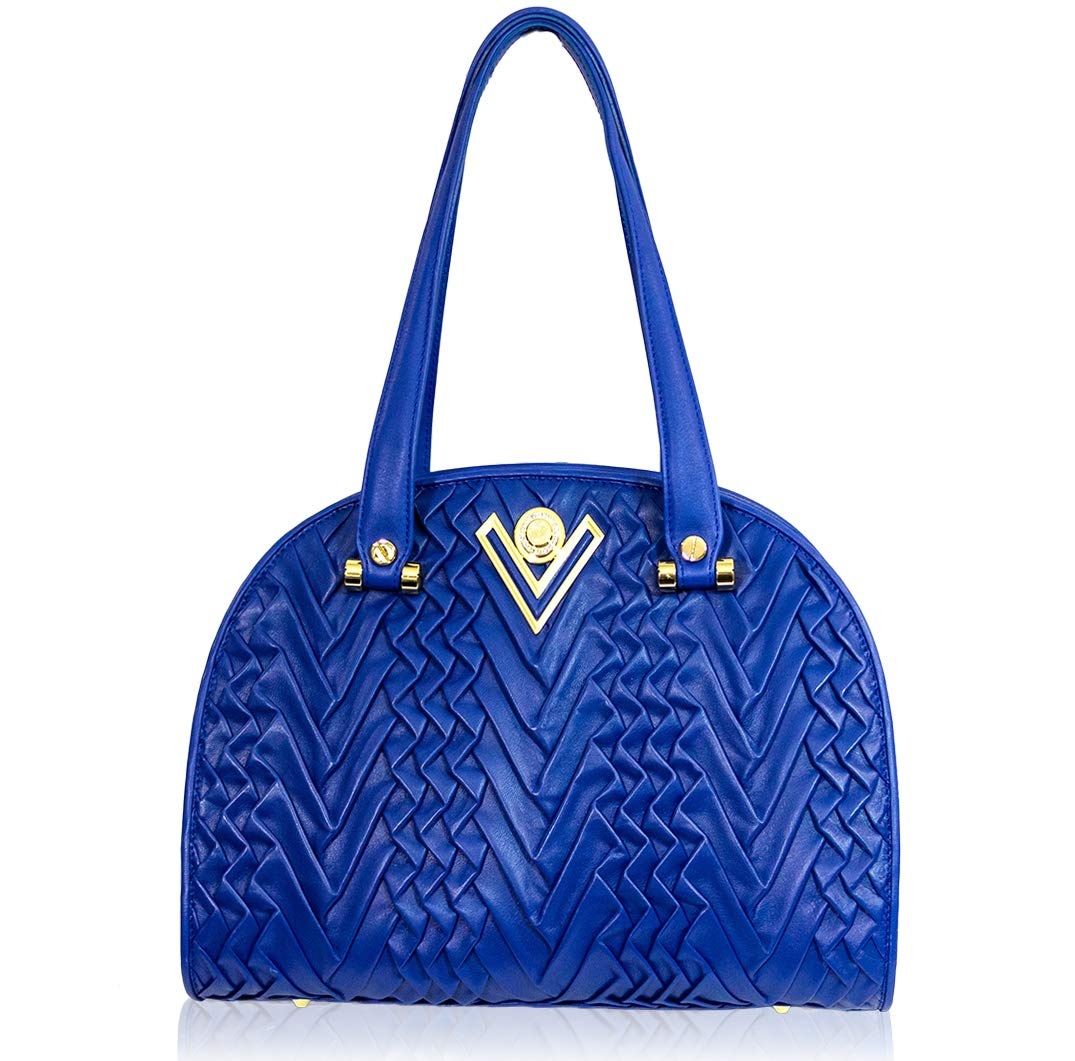 Valentino Orlandi Women's Medium Handbag Italian Designer Purse Genuine Leather Top Handle Satchel Bowling Bag in Cobalt Blue Pleated Draped Plisse Design - wiihuu