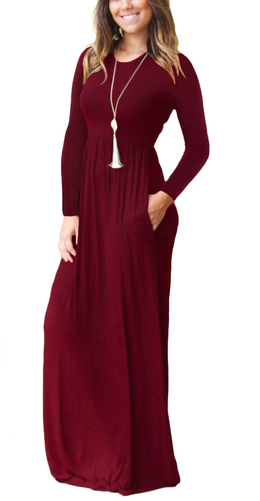 Women's Casual Long Sleeve Long Maxi Tunic Dresses Wine Red Small - wiihuu