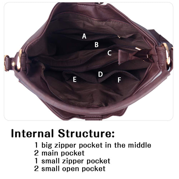 Uncle.Y Bags for Women Shoulder Purses Hobo Handbags PU Leather Satchel Zipper Closure Large Size Eggplant Purple - wiihuu