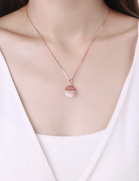 HXZZ Fine Jewelry Women Gifts Sterling Silver Natural Gemstone Rose Quartz Pendant Necklace Peaceful Heart - wiihuu
