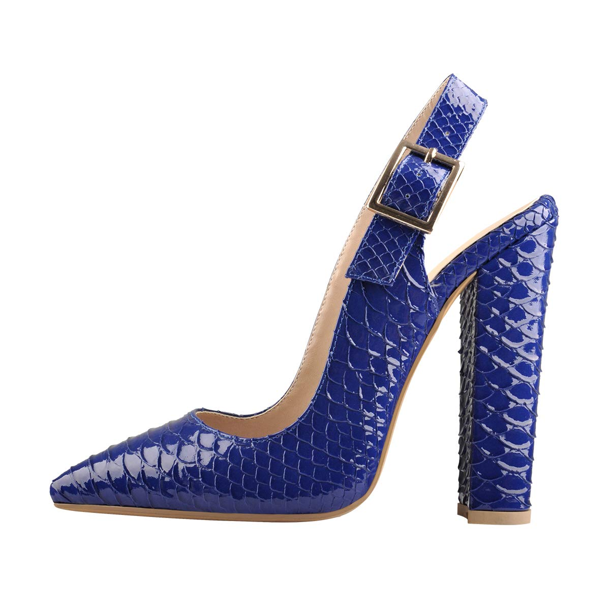 Onlymaker Women's Slingback Pointed Toe Fish Scale Pumps Ankle Strap Chunky Square Heel Dress Shoes for Party Prom Blue US 14 - wiihuu