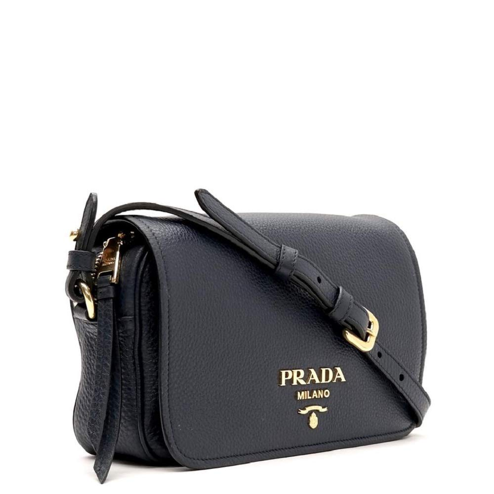 Prada Womens Vitello Phenix Shoulder Flap Navy Blue Leather Crossbody Bag 1BD163 (Navy Blue) - wiihuu