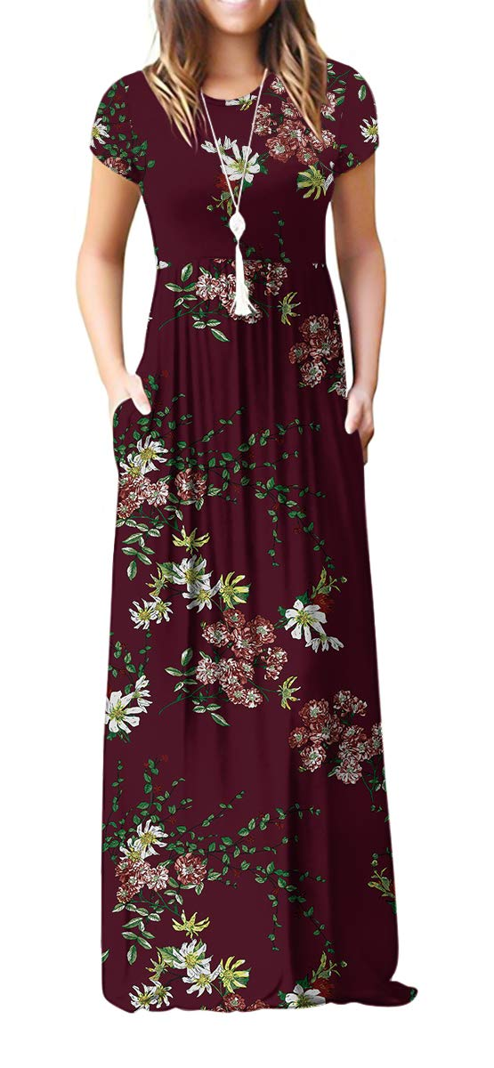 VIISHOW Women's Short Sleeve Floral Printed Dress Loose Plain Maxi Dresses Casual Long Dresses with Pockets(Floral Wine red XL) - wiihuu