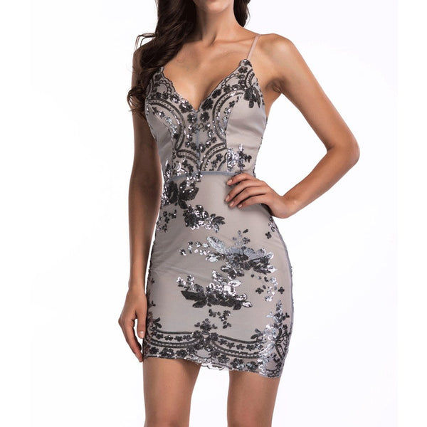 Women's Sexy Backless Sparkling Dress Sequins Floral Deep V Neck Clubwear Party Bodycon Mini Short Dress Silvery TAG S - wiihuu