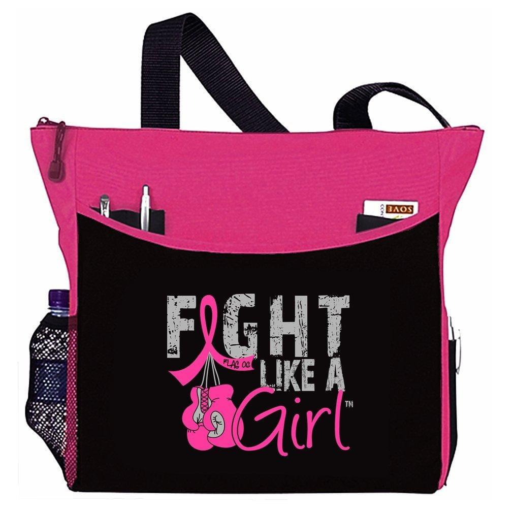 "Fight Like a Girl Boxing Glove Tote Bag""Dakota"" in Pink for Breast Cancer (Assorted Colors) - wiihuu"