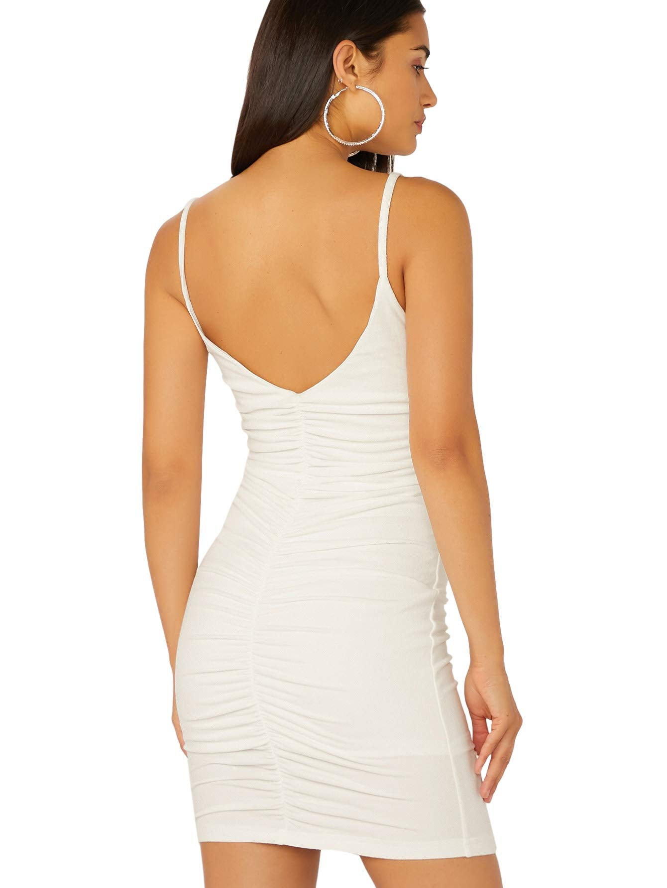 SheIn Women's V Neck Straps Sleeveless Sexy Backless Ruched Bodycon Mini Dress Small White - wiihuu
