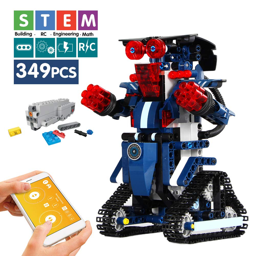 Mould King Remote Control Building Block Robot Educational Electric RC Robot Bricks STEM Toys with LED Intelligent Charging Gift for Boys Girls Age of 6,7,8,9-14 Year Old (Navy) - wiihuu