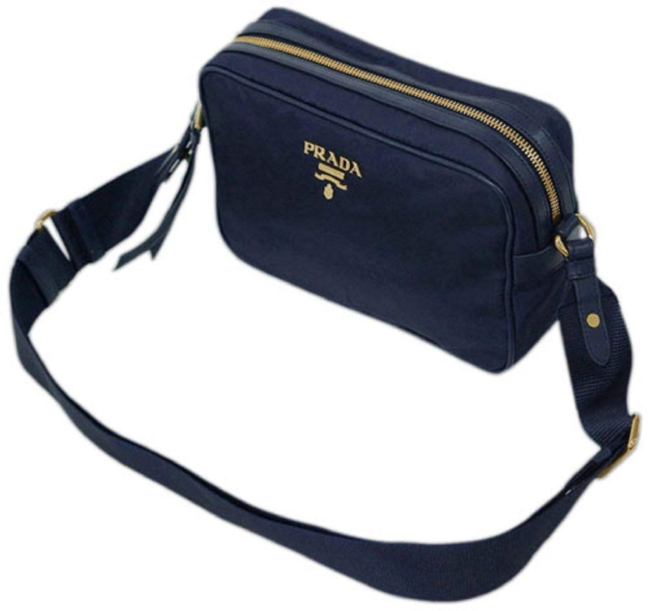 Prada Women's Blue Tessuto Nylon Leather Trim Cross Body 1BH089 - wiihuu
