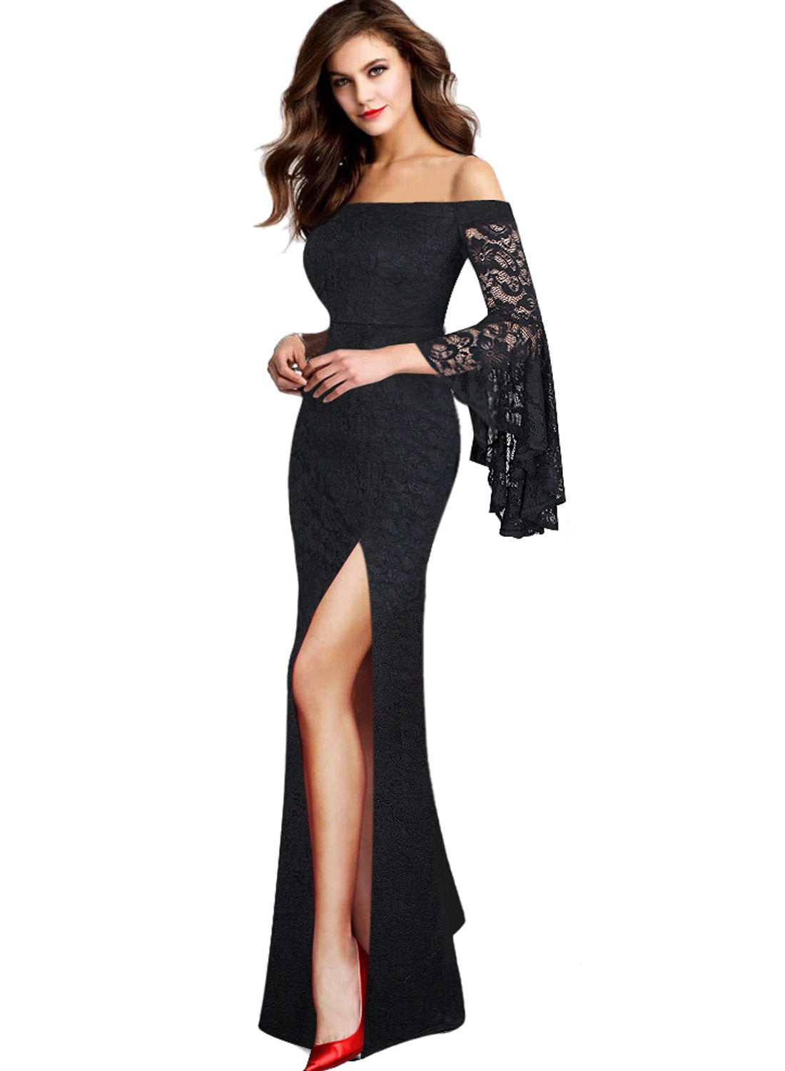 VFSHOW Womens Off Shoulder Bell Sleeve High Slit Formal Evening Party Maxi Dress - wiihuu