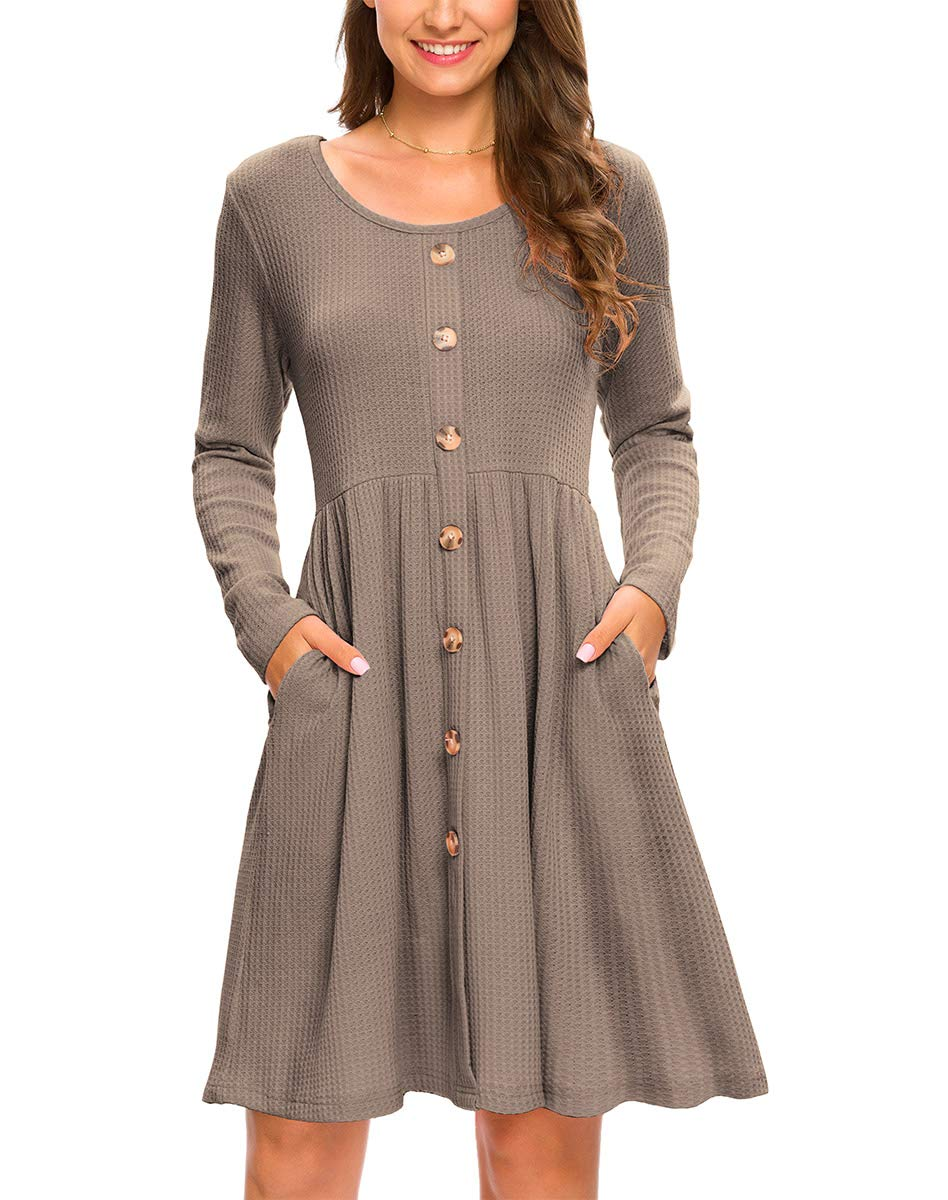 LONGYUAN Women's Long Sleeve Casual Waffle Knit Button Down Dress with Pockets 2XL, Khahi Khaki - wiihuu