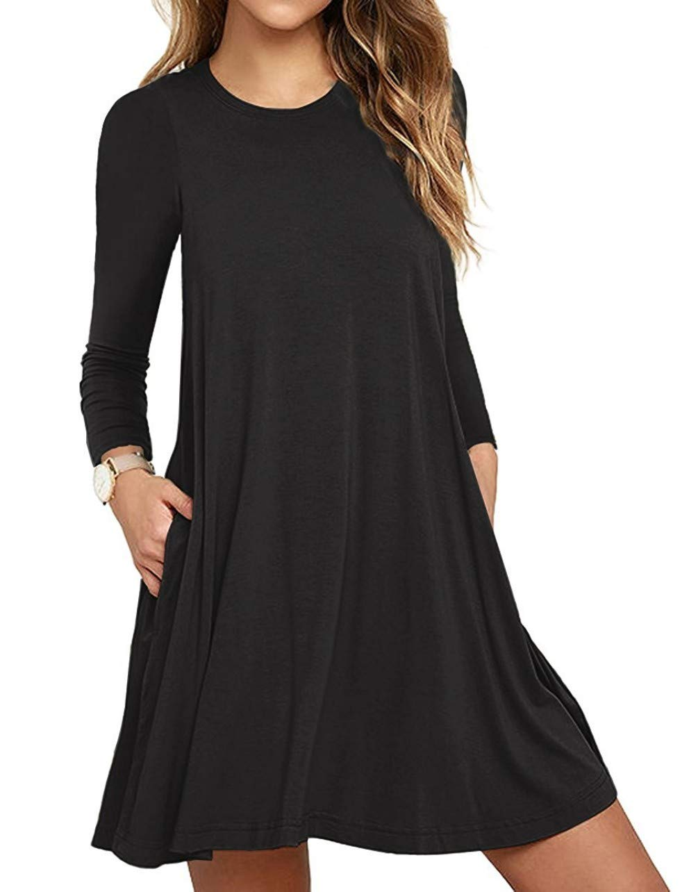 Unbranded* Women's Long Sleeve Pocket Casual Loose T-Shirt Dress Black Large - wiihuu