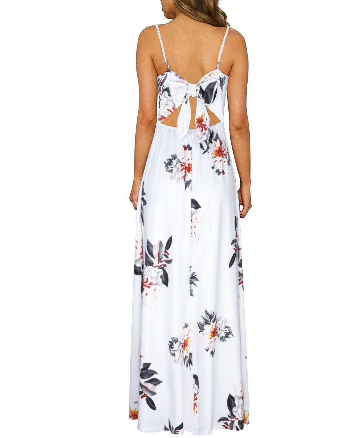 ULTRANICE Women's Summer Floral Backless Adjustable Spaghetti Strap Maxi Dress Split(Floral07,S) - wiihuu