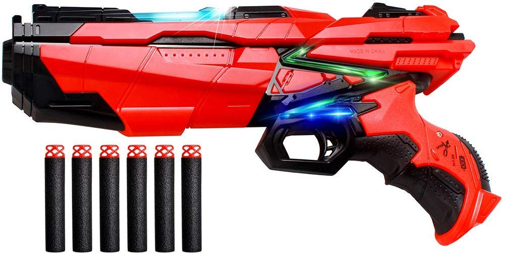 Swonuk Foam Darts Hand Gun Toy Blaster Gun Compatible with Nerf Guns with 6 PCS Refill Foam Darts - wiihuu