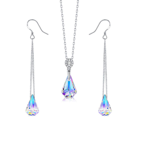 DESIMTION Sterling Silver Necklace and Earrings Jewelry Set Gifts for Women Crystals from Swarovski - wiihuu
