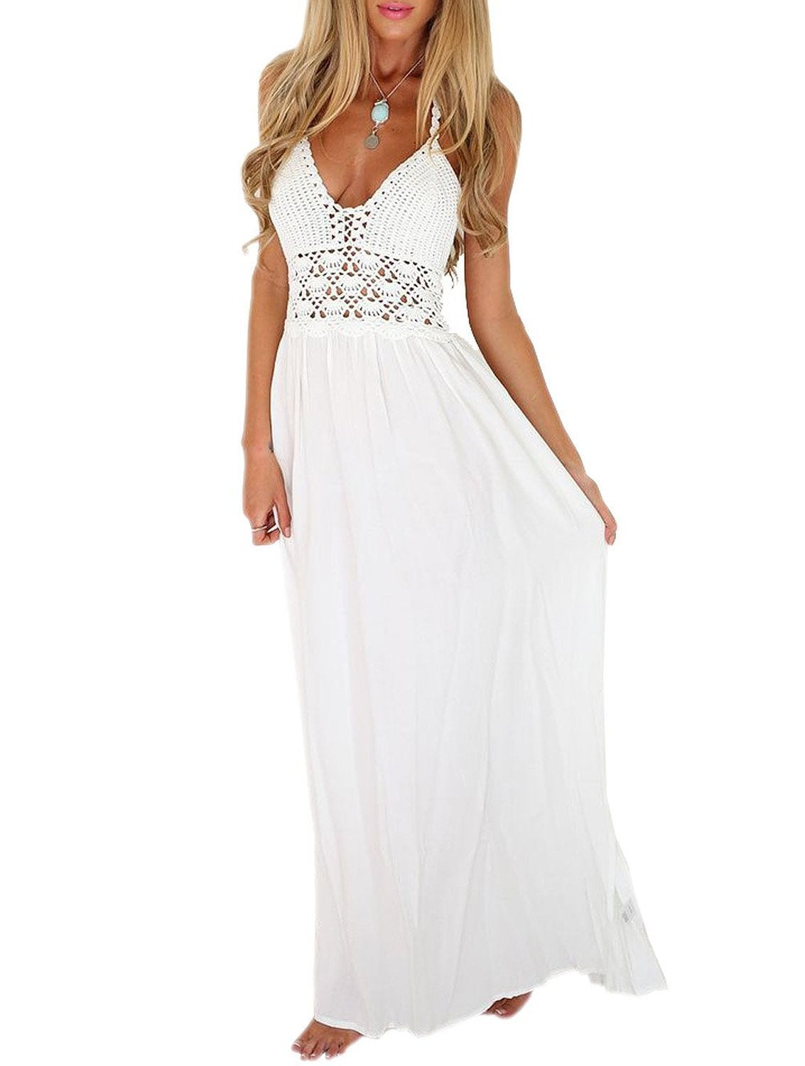 LILBETTER Women's Beach Crochet Backless Bohemian Halter Maxi Long Dress (XL, White) - wiihuu