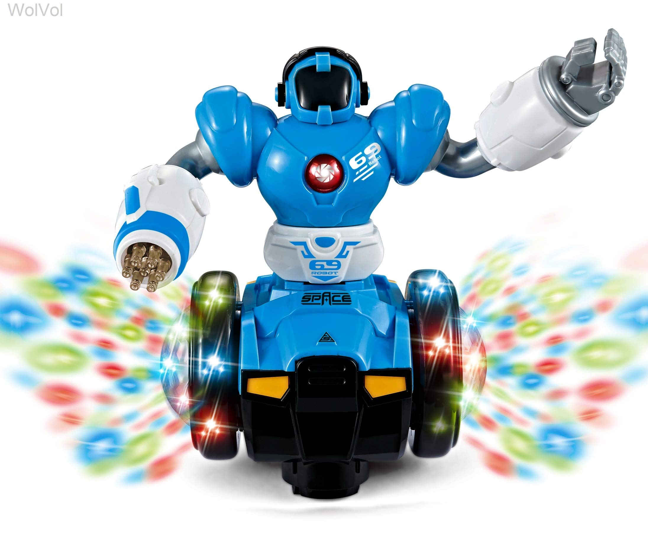 WolVol Bump and Go Robot Toy - Realistic Action with Interactive Sound & Bright Lights - Perfect Gift for Any Occasion for Kids Boys & Girls - wiihuu