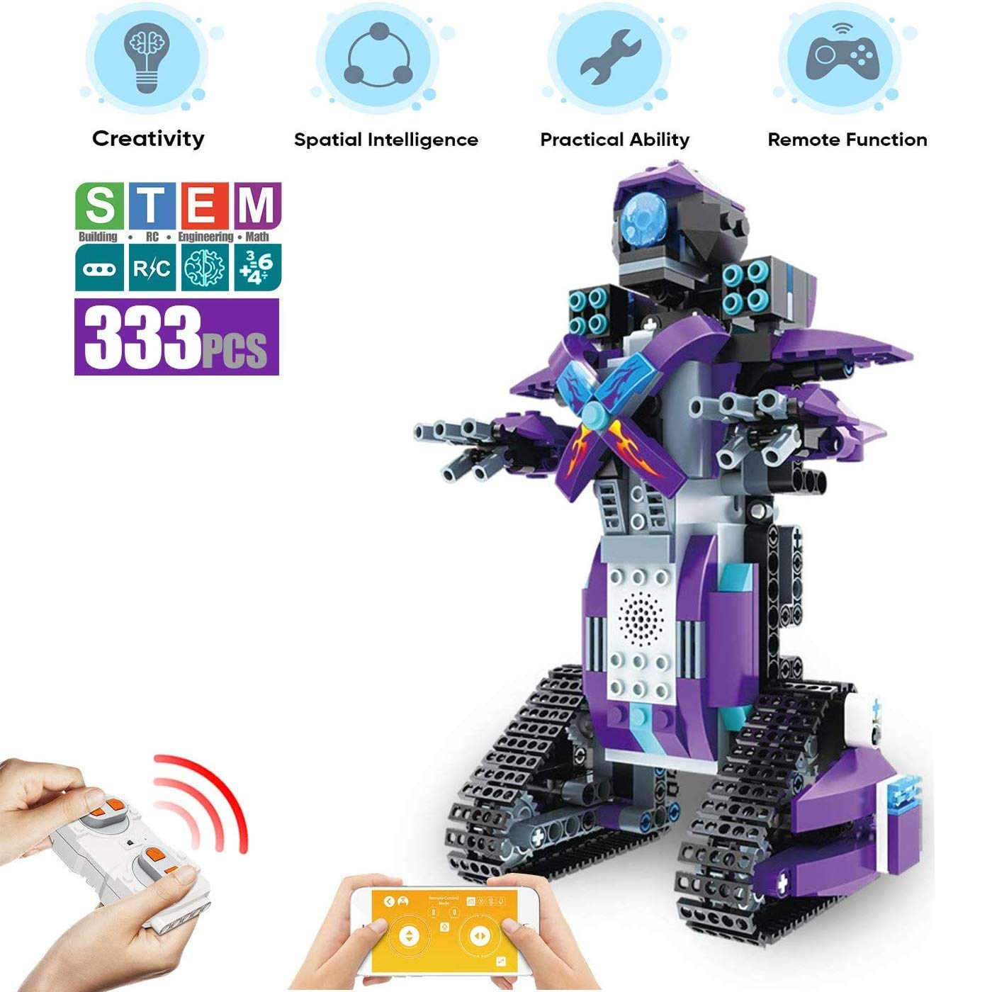 M&Ostyle STEM Remote Control Building Blocks Robot for Kids- Remote Control Engineering Science Educational Building Toys Kits for Boys and Girls Toys Intelligent Gift (Purple/333PCS) - wiihuu