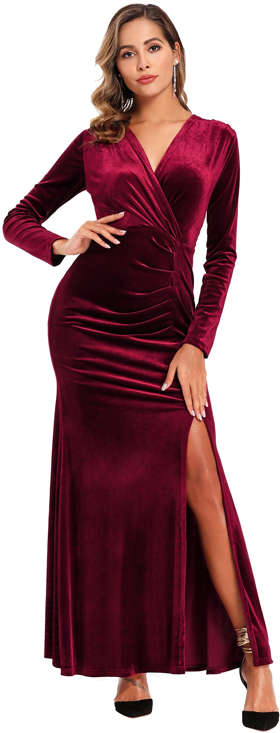 Ababalaya Women's 90s Retro Velvet Long Bodycon Side Slit Formal Evening Gown,Burgundy,S - wiihuu