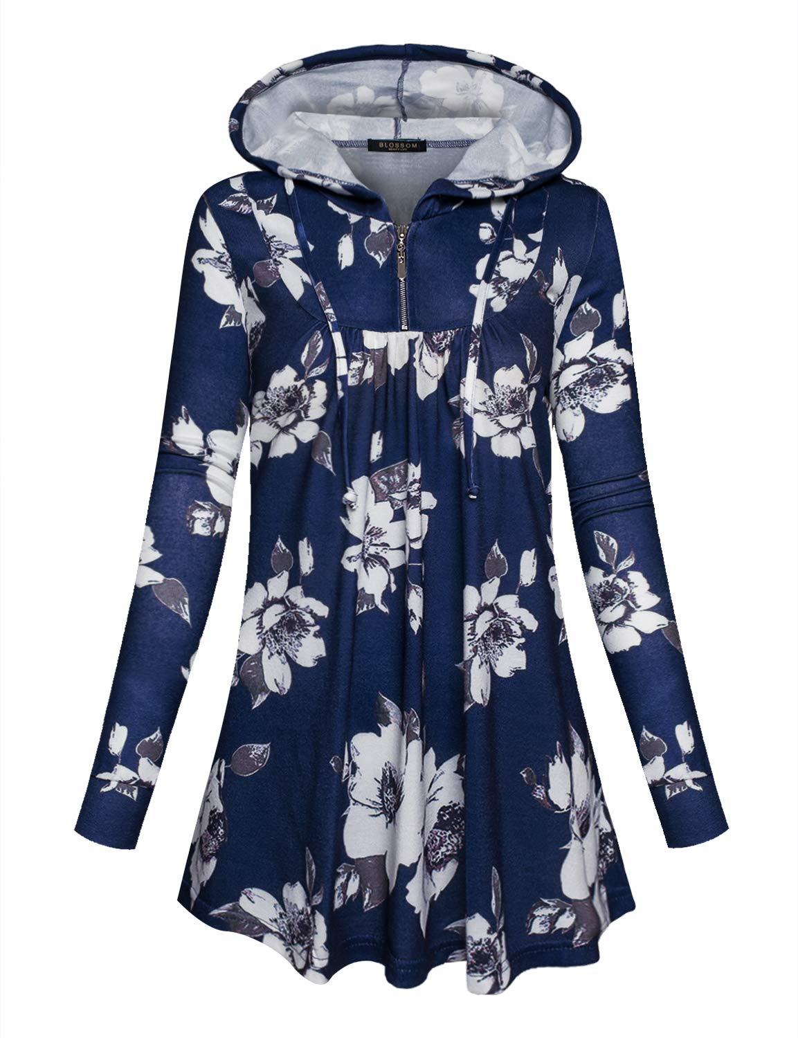 blossom smile Women's V Neck Zipper Casual Floral Print Hoodies Pullover Sweatshirt with Pockets (Large, Blue) - wiihuu