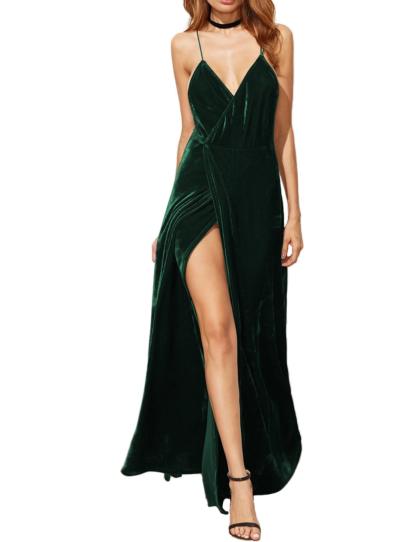 Verdusa Women's V-Neck Backless Wrap Velvet Cocktai Party Dress Green M - wiihuu