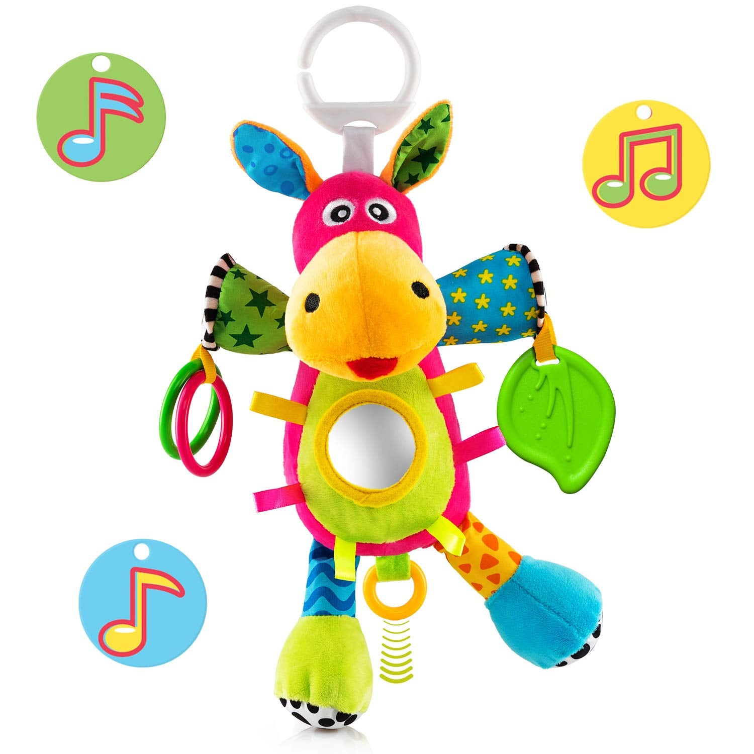 OKIKI Donkey Plush Stuffed Infant Toy, Baby Development Toys with Musical Box, Squeaky Feet, Kids Mirror, BPA Free Teether - Stroller, Crib, Carseat Baby Toys - wiihuu