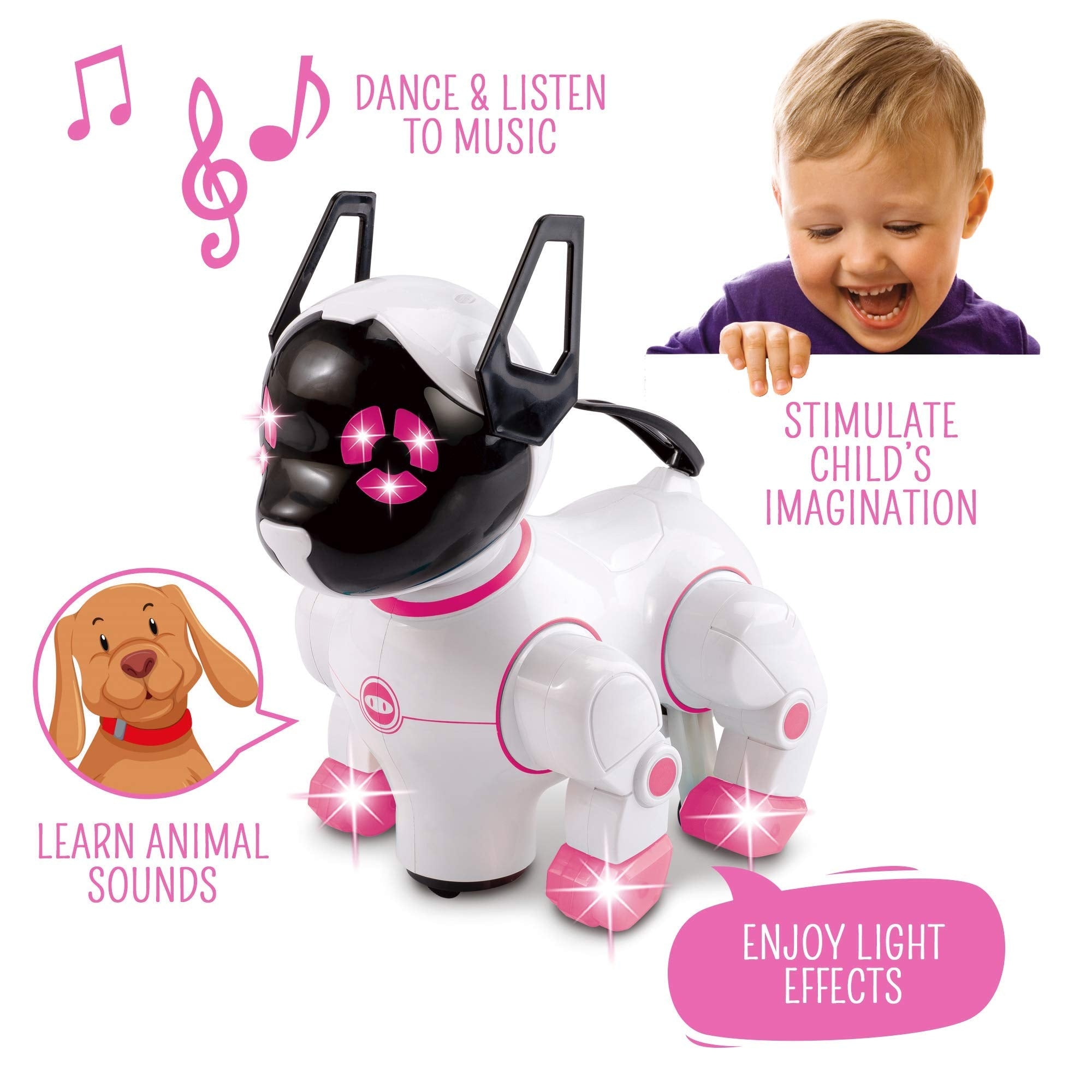 Bambiya Pet Robot Dog for Kids - Interactive Kids Robot Walks, Shakes Its Head, Wags Tail, Moves Feet and More - Puppy Robot Toy w/ Head and Feet That Light Up - for Curious Children Age 3+ Years - wiihuu