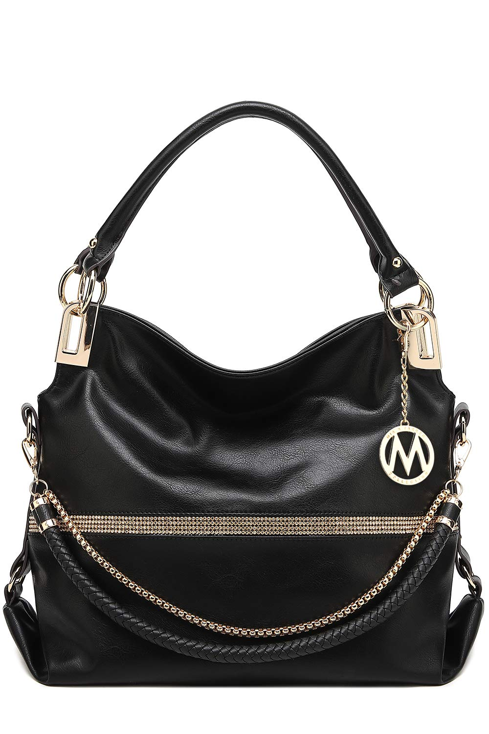 Mia K. Collection Hobo Crossbody Bag for Women - Satchel Shoulder Handbag - Vegan Leather Top Handle Purse Removable Strap - wiihuu