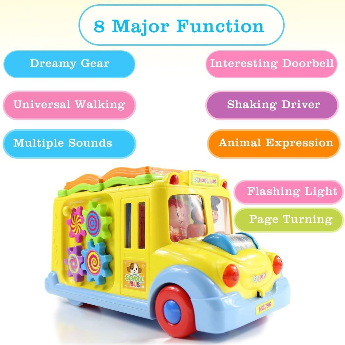 fisca Intellectual Musical School Bus, Learning Educational Toys for Baby & Toddler, Electronic Car with Lights for 1 2 3 Year Old Boys and Girls - wiihuu