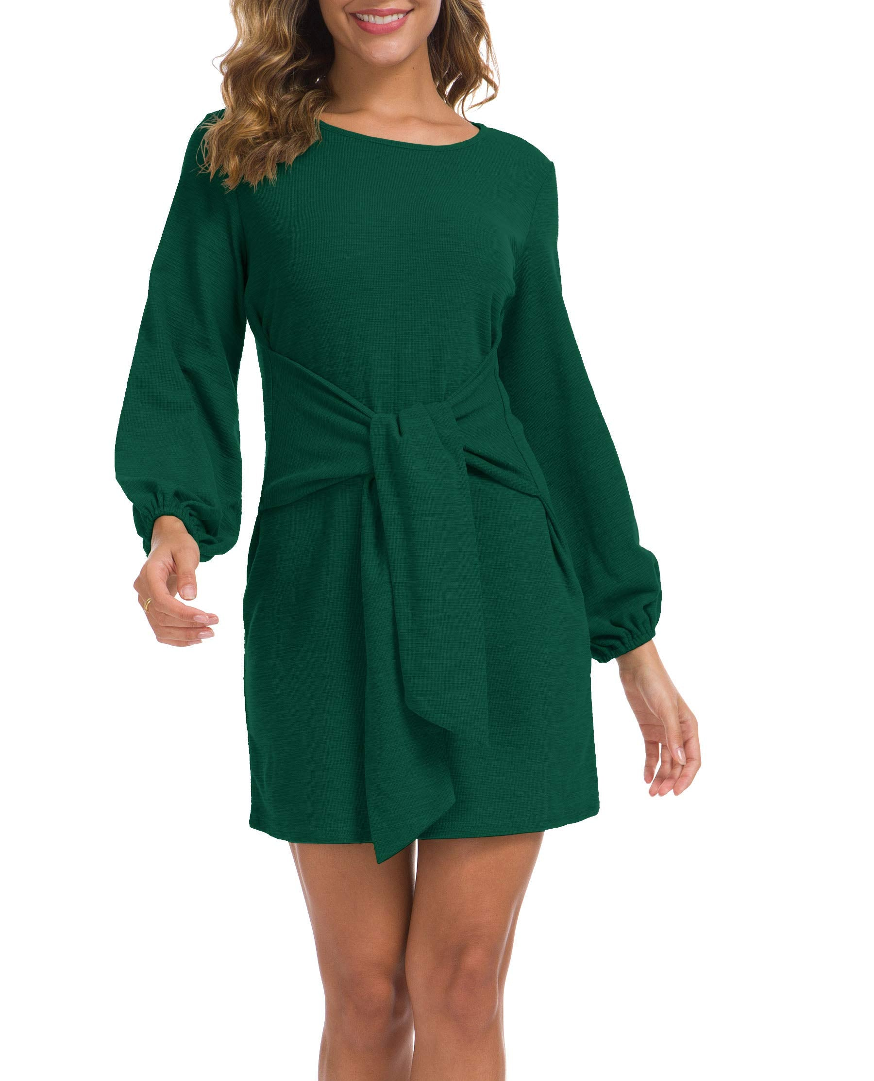 Lionstill Women's Elegant Long Sleeve Dress Casual Tie Waist Sweater Dresses Dark Green Large - wiihuu