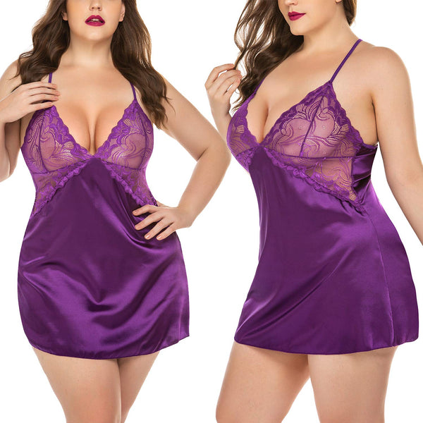Avidlove Women Lingerie V Neck Nightwear Sexy Satin Sleepwear Lace Chemise Mini Teddy L, Purple - wiihuu